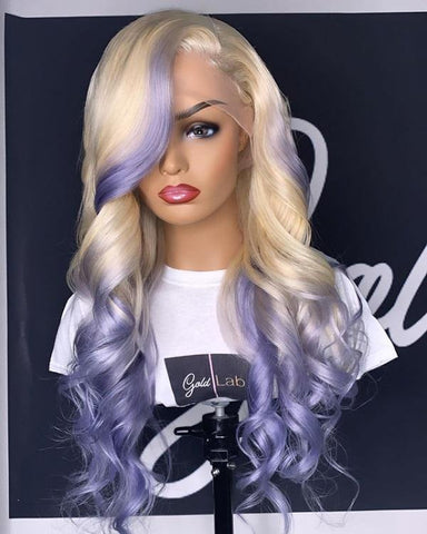 Full Lace 10a Grade 613 Blonde Purple Wig - Belle Noir Beauty
