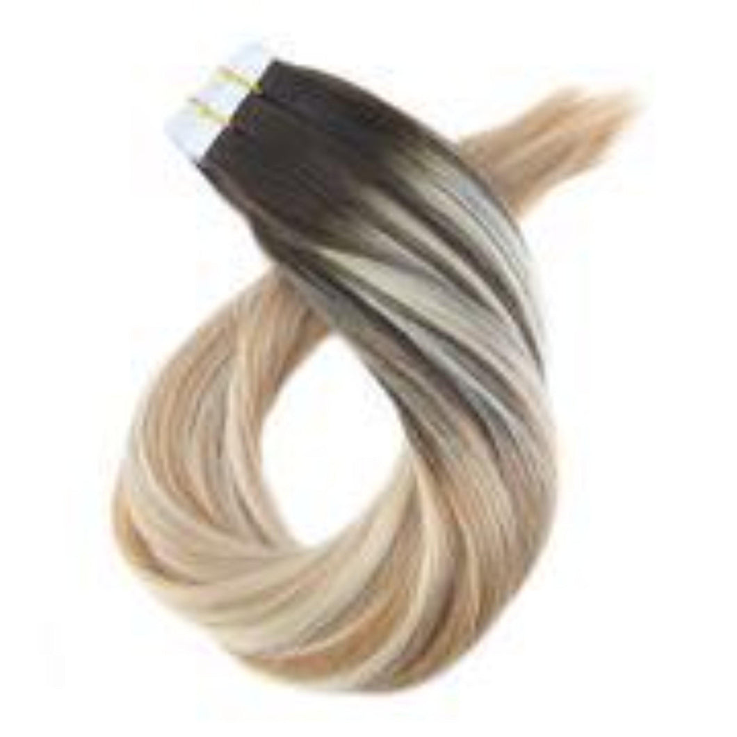 50g Tape in Hair Extensions Brown #2 Fading to Blonde #27 with Blonde #613(#2/27/613)