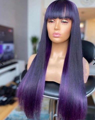 10a Grade Purple Black Full Lace Wig - Belle Noir Beauty