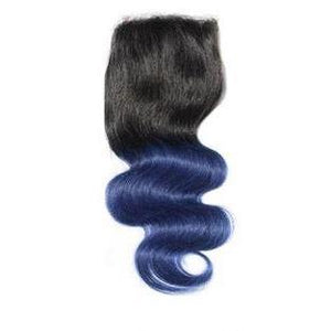 Blue Ombre Wavy 4x4 closure