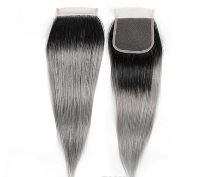 10A Grey Ombre  4x4 Straight Closures - Belle Noir Beauty