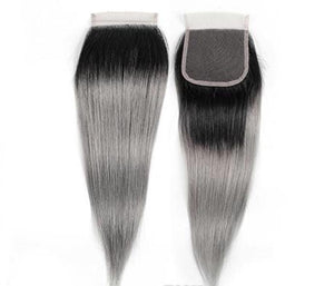 10A Grey Ombre  4x4 Straight Closures