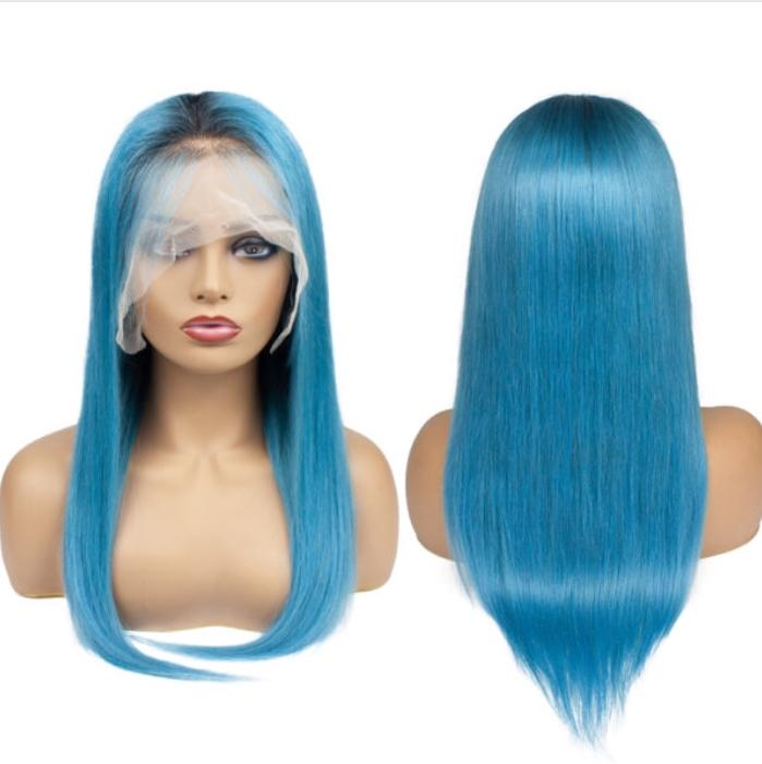 Lace Front 10a Grade Hair Ombre 1B-Blue Wig
