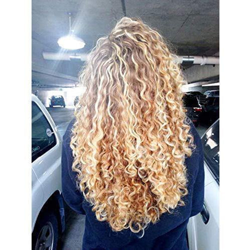 Moresoo Curly Lace Front Wig Human Hair Brown #12 Highlighted with Blonde #613(Curly #P12/613)