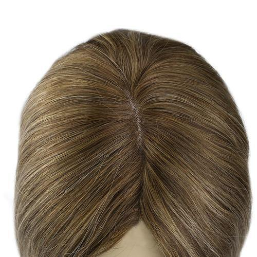 Topper Hair Pieces Human Hair Remy Hair Toupee #4 Fading To Blonde #27 Mixed With Brown #4(#4/27/4)