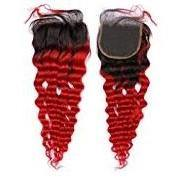 Red Ombre Curly Closure