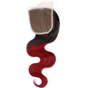 Red Ombre Wavy Closure