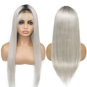 Lace Front 10a Grade Grey Ombre Wig Unit - Belle Noir Beauty (product_title) (product_type)