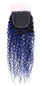 Blue Ombre Curly 4x4 closure