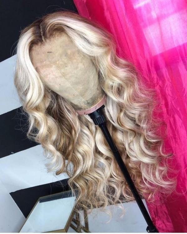 Light Brown and Platinum Blonde Wavy
