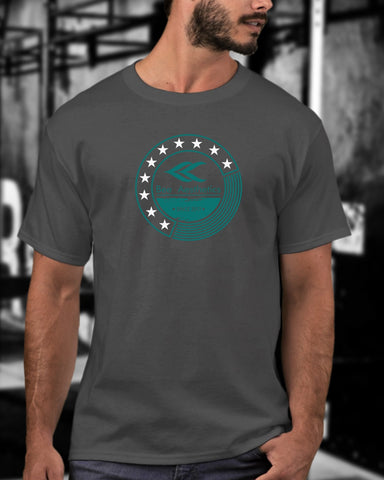 Mens Dark Grey Stars Turquoise