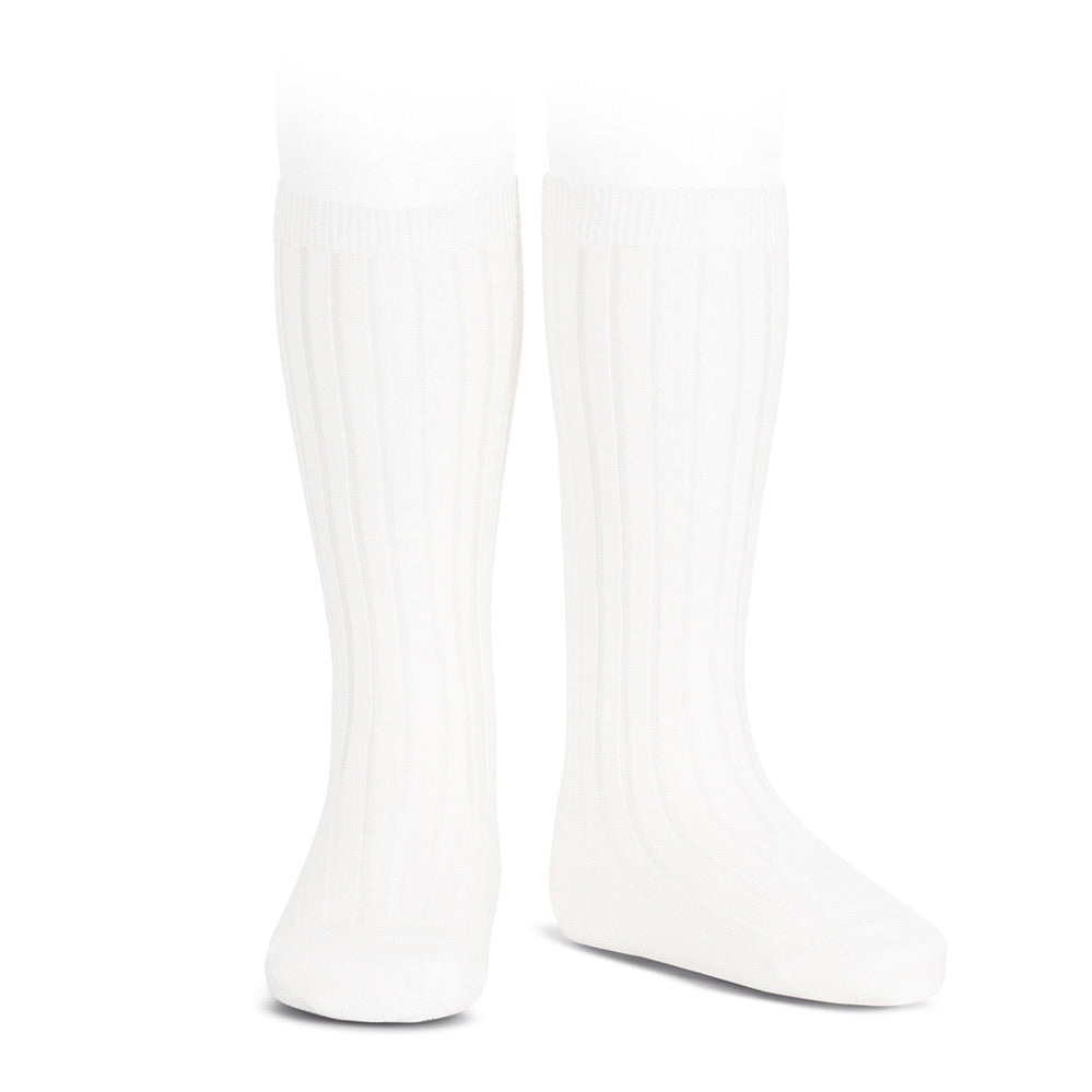 White Ribbed Knee High Socks