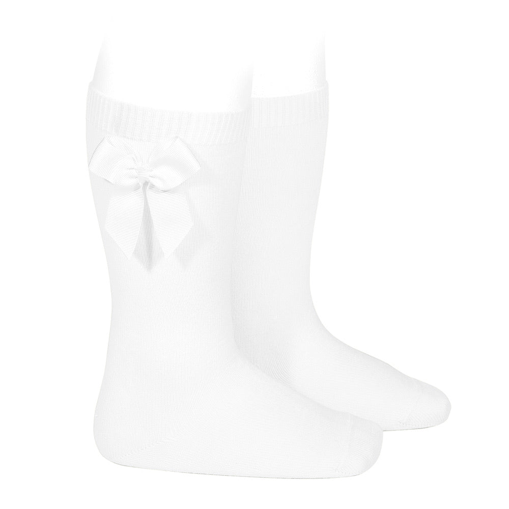 White Bow Knee High Socks