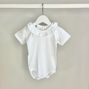 White Short Sleeved Ruffle Collar Body