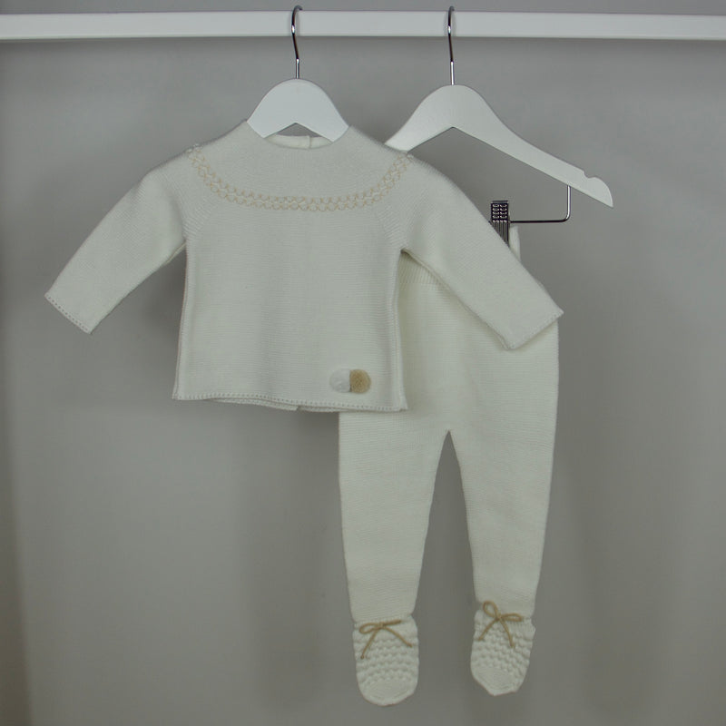 White Knitted Babygrow