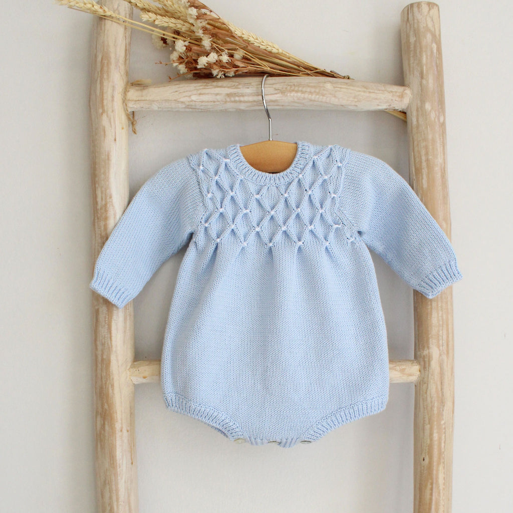 Blue Knitted Romper With Smocking