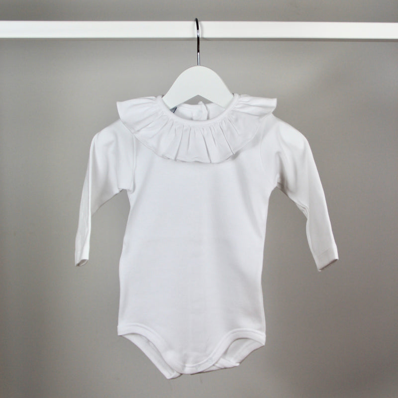 White Long Sleeved Ruffle Collar Bodysuit