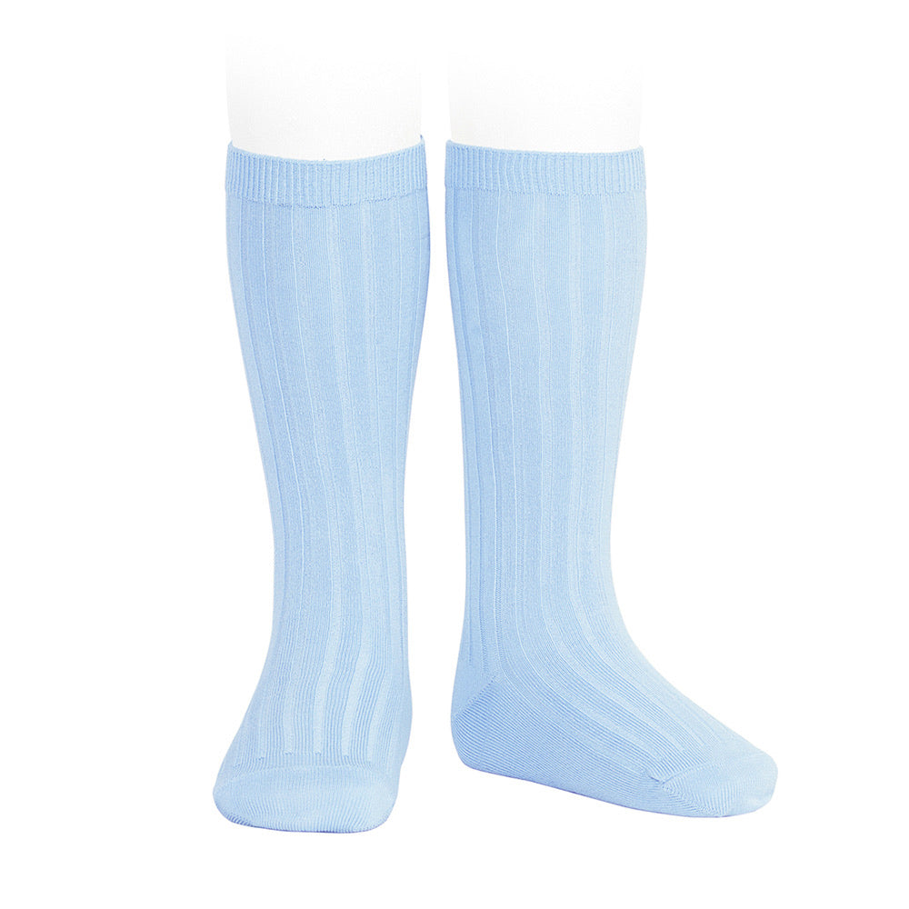 Blue Ribbed Knee High Socks