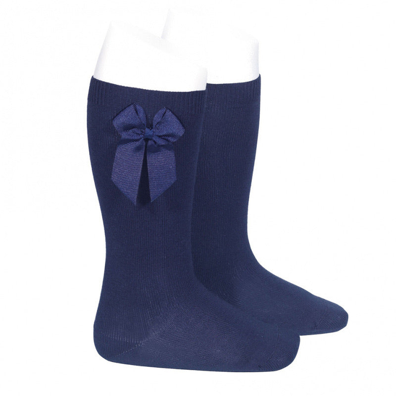 Navy Bow Knee High Socks