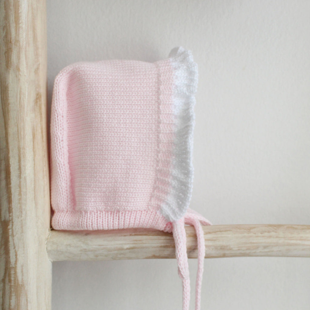 Pink Frilly Knitted Bonnet