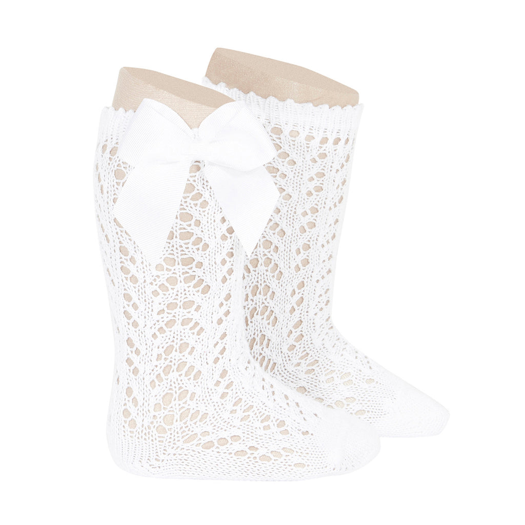 White Openwork Bow Socks