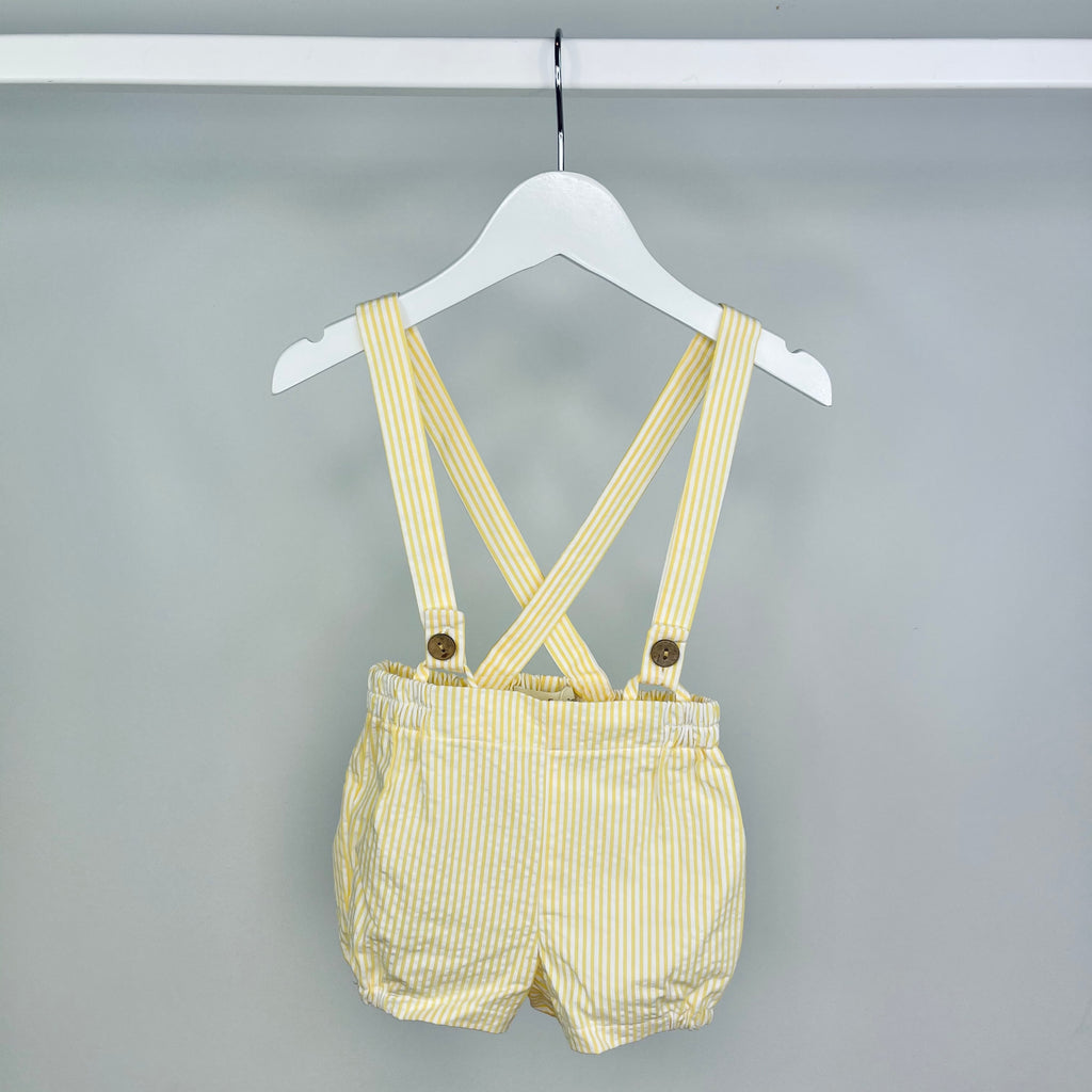 Lemon Seersucker Dungaree Shorts