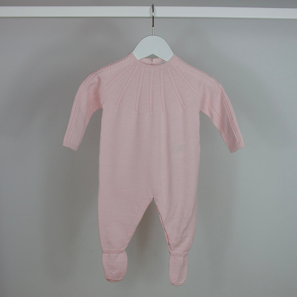 Pink Knitted Babygrow