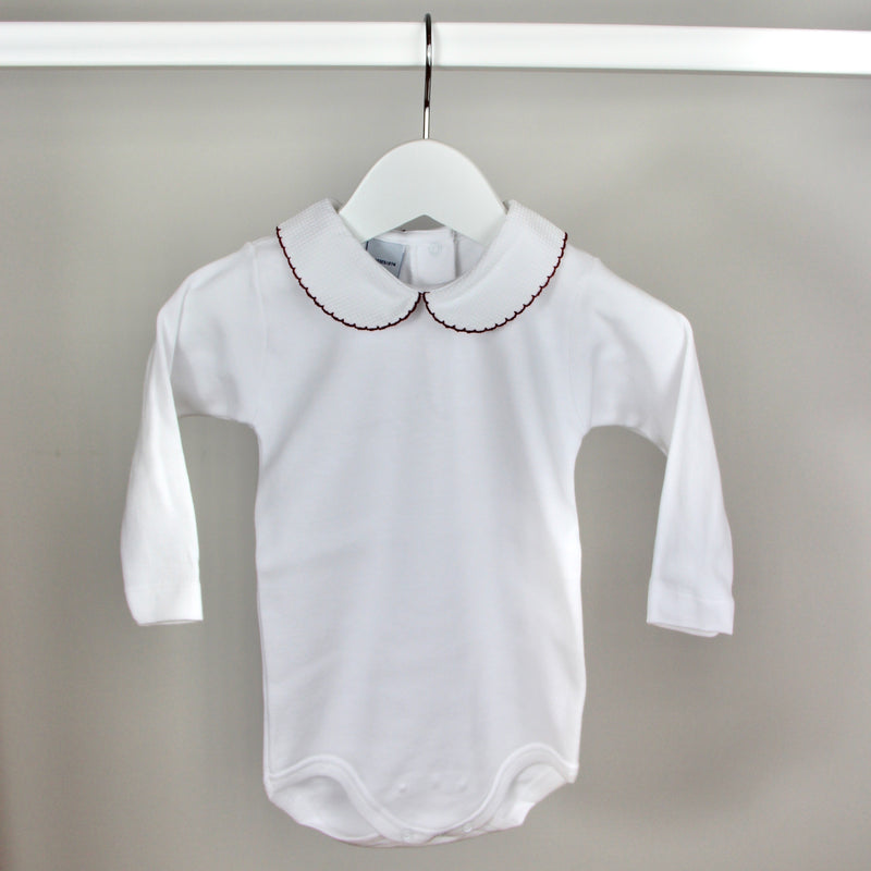 White & Maroon Long Sleeve Peter Pan Collar Bodysuit