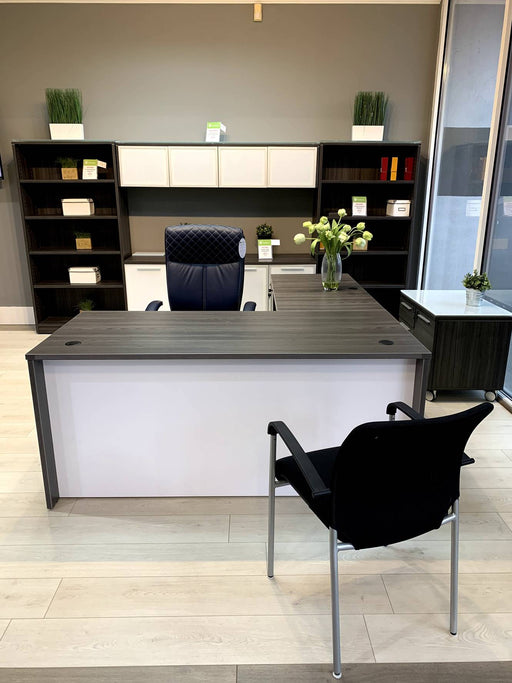 Bellagio | L-Shaped Desk  With White Modesty Panel