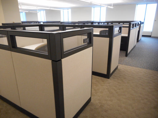 "Pre Owned Cubicle | 6'x7.5' Haworth with Glass -53""H"