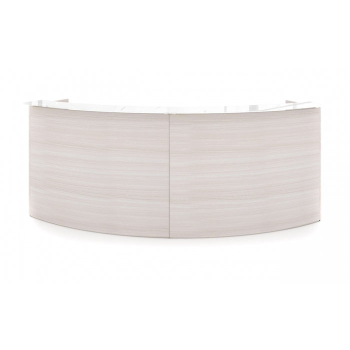 Santa Monica | Curved Reception Desk Shell | White Glass Transactional Top