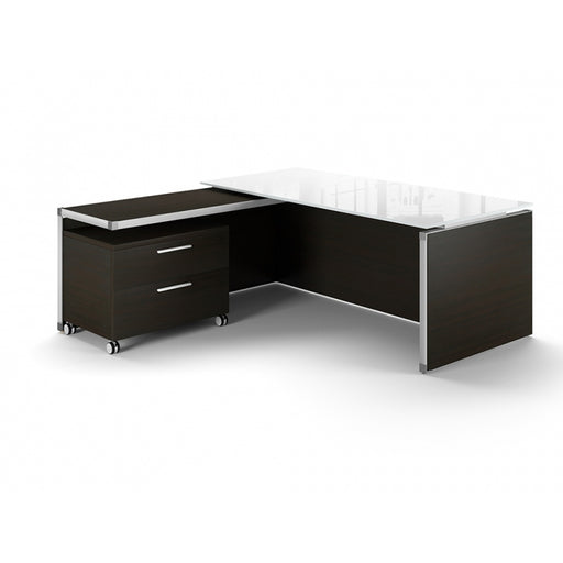 Santa Monica | Executive L-Shaped Desk | with Glass Top
