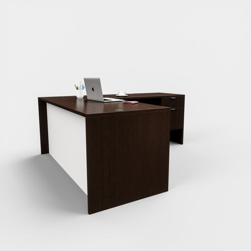 Carmel | L-Shaped Desk With White Modesty Panel