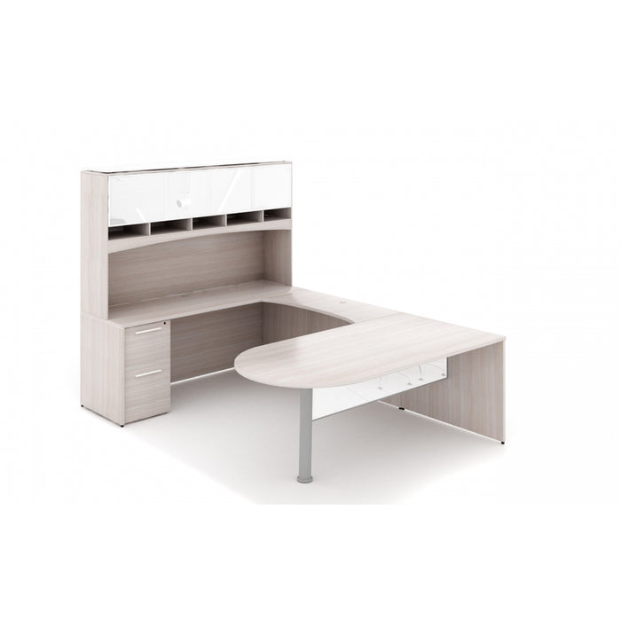 Santa Monica |  U-Shaped Bullet End Desk with Glass Package