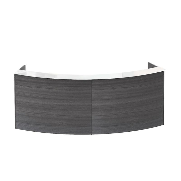 Desk - Santa Monica | Curved Reception Desk Shell | White Glass Transactional Top