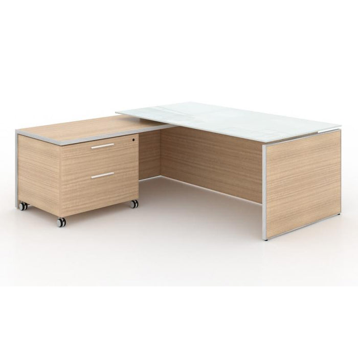 Desk - Santa Monica | Executive L-Shaped Desk | With Glass Top