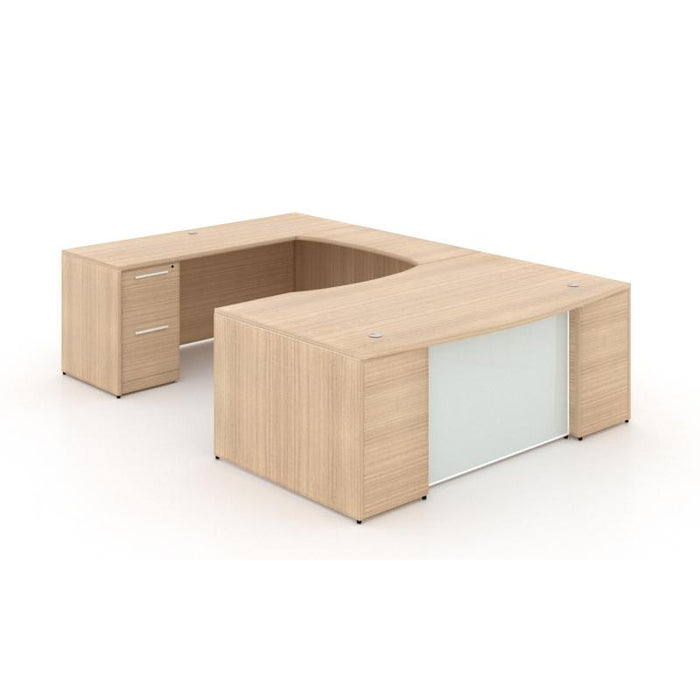 Desk - Santa Monica | U-Shaped Desk | With Glass Modesty Panel