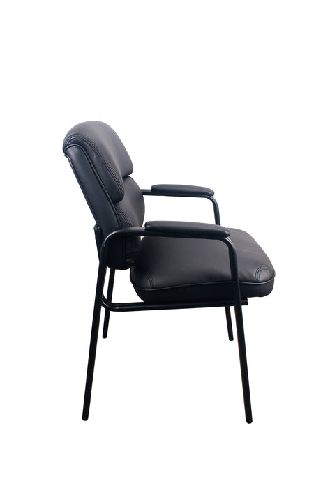 LOLA | Guest Chair W/ Padded Black Leather