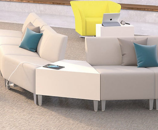 Table - Laminate Wedge Table with white couch