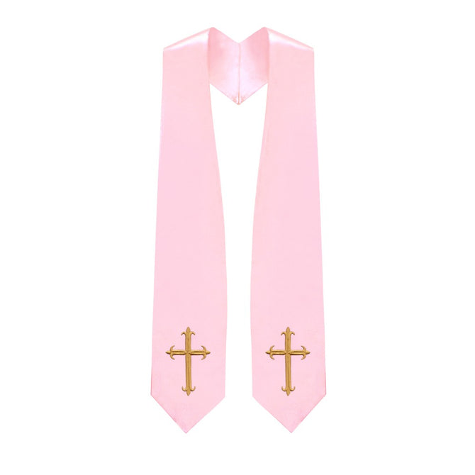 Pink Choir Stole with Crosses - Stoles.com