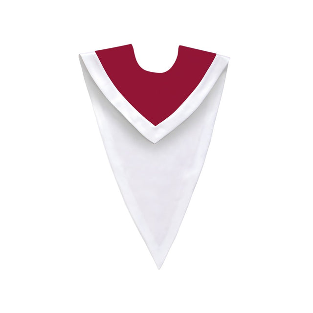 Maroon/White V-Neck Choir Stole - Stoles.com