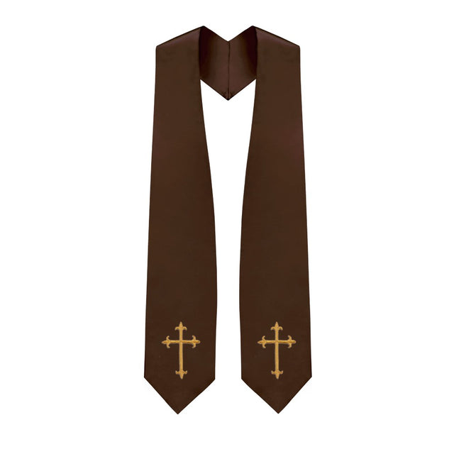 Brown Choir Stole with Crosses - Stoles.com