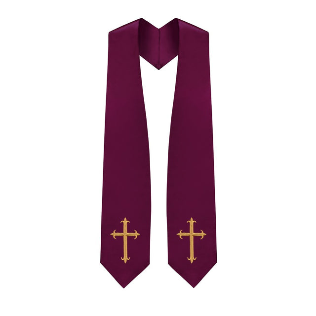 Maroon Choir Stole with Crosses - Stoles.com