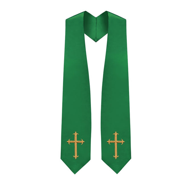 Green Choir Stole with Crosses - Stoles.com
