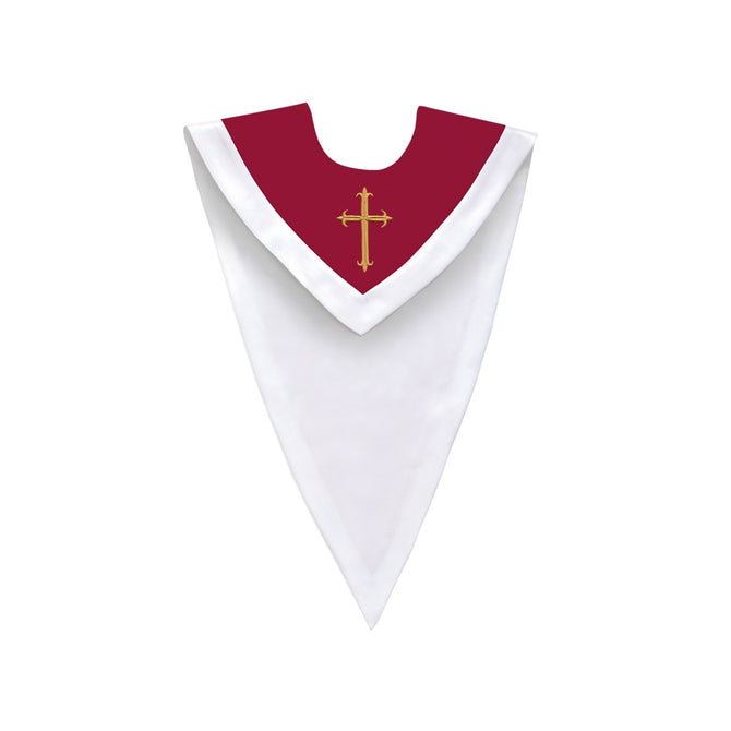 Maroon/White V-Neck Choir Stole with Cross - Stoles.com