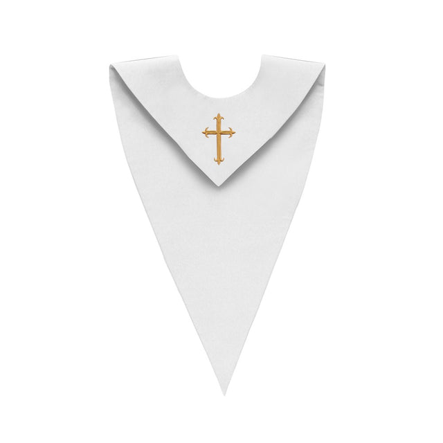 White V-Neck Choir Stole with Cross - Stoles.com