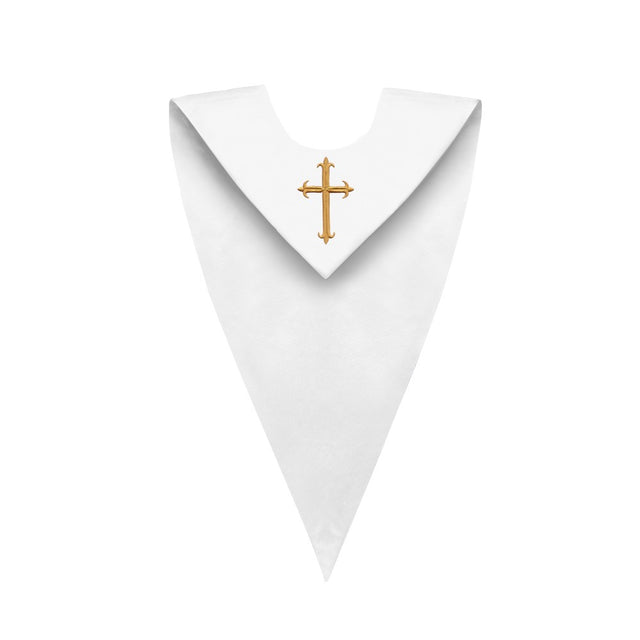 Satin White V-Neck Choir Stole with Cross - Stoles.com