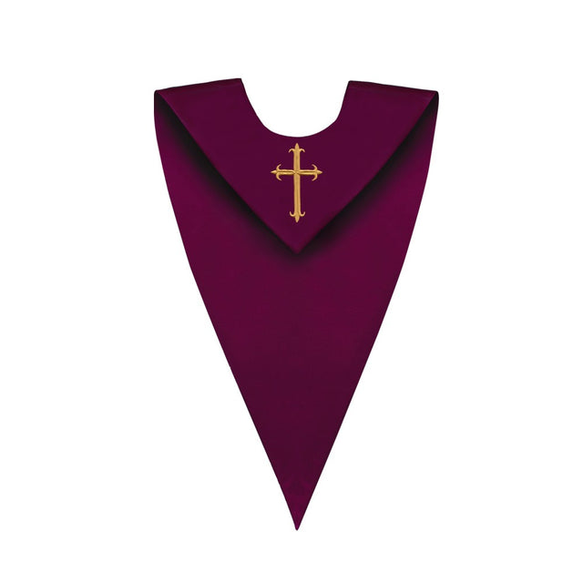 Matte Maroon V-Neck Choir Stole with Cross - Stoles.com