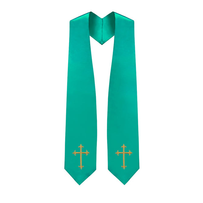 Emerald Green Choir Stole with Crosses - Stoles.com