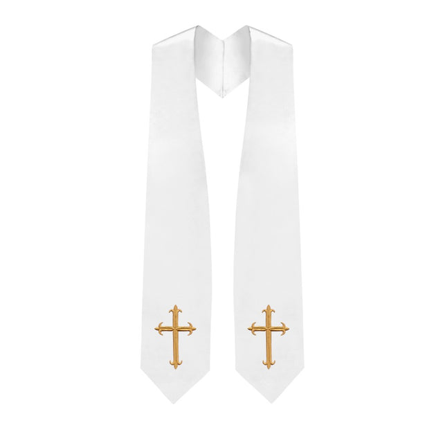 White Choir Stole with Crosses - Stoles.com